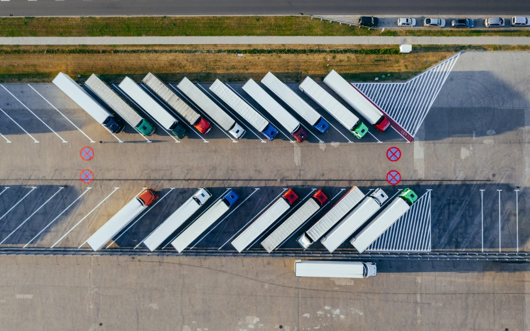 Lorries lined up on distribution line